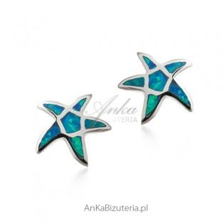 Kolczyki srebrne z niebieskim opalem - rozgwiazdy
