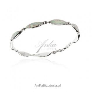 Bransoletka srebrna z białym opalem Biżuteria z opalem