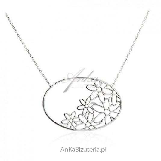 Oryginalny naszyjnik srebrny Margaretka