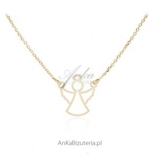 Naszyjnik srebrny pozłacany z aniołkiem