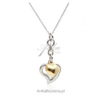 Naszyjnik srebrny z pozłacanym serduszkiem - biżuteria włoska