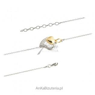 Bransoletka srebrna włoska - dwa serduszka