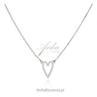 Naszyjnik srebrny serduszko - biżuteria włoska