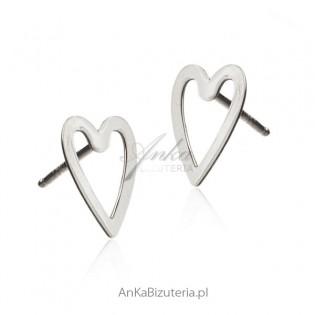 Kolczyki srebrne serduszka - biżuteria włoska