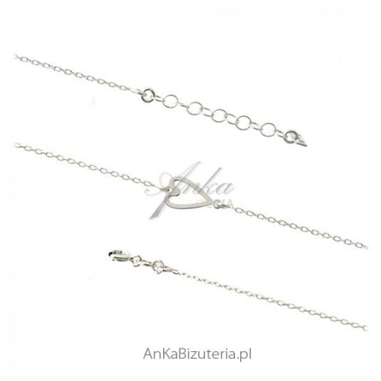 Bransoletka srebrna serduszko - biżuteria włoska