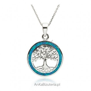 Zawieszka srebrna z niebieskim opalem Drzewko szczęścia
