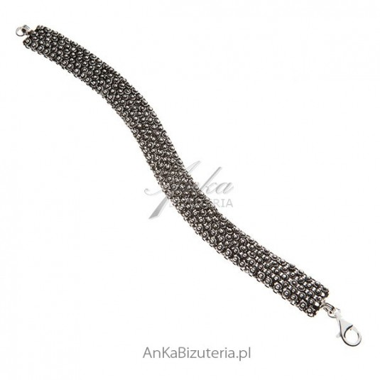 Bransoletka srebrna oksydowana - Elegancka biżuteria w sklepie AnKa Biżuteria