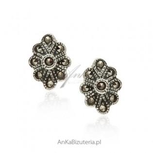 Kolczyki srebrne z markazytami Biżuteria z markazytami