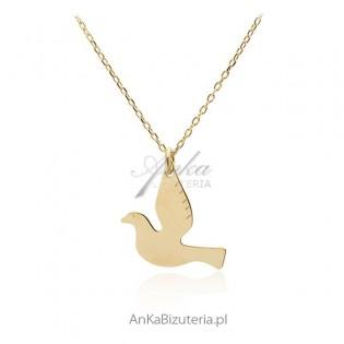 Naszyjnik srebrny pozłacany Gołąb pokoju - Modna bizuteria