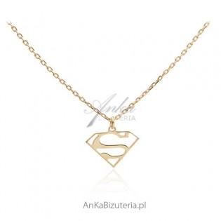Naszyjnik srebrny pozłacany Celebryka S - Supermen