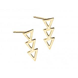 Kolczyki srebrne pozłacane trójkąty