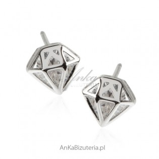 Kolczyki srebrne z cyrkonią - Diamenty