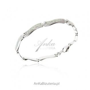 Bransoletka srebrna z białym opalem Piękna biżuteria z opalem