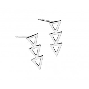 Kolczyki srebrne rodowane trzy trójkąty