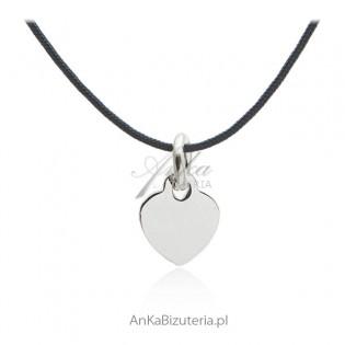 Naszyjnik choker srebrny na sznureczku Bizuteria włoska