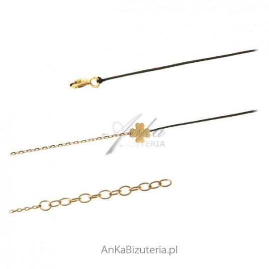 Bransoletka srebrna złota koniczynka na czarnym sznureczku