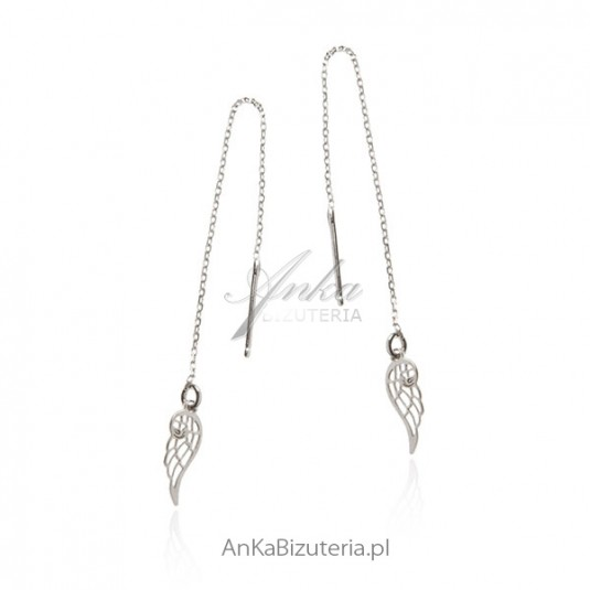 Kolczyki srebrne skrzydełka - Biżuteria włoska