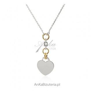 Piękny naszyjnik srebrny z serduszkiem - Biżuteria włoska