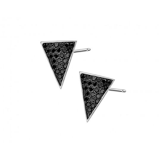 Kolczyki srebrne z czarną cyrkonią
