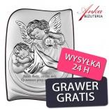 Pamiątka Chrztu dla dziecka Aniołek Obrazek srebrny 13,5 cm*18 cm