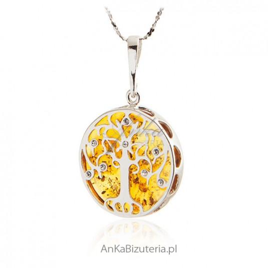 8d105552e31d Zawieszka srebrna z bursztynem i kryształkami Swarovski -Drzewko Szczęścia