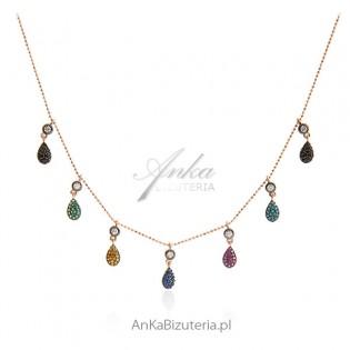 Piękna biżuteria damska - naszyjnik srebrny pozłacany z turkusami i cyrkoniami
