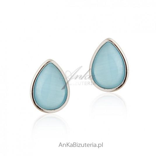 Kolczyki srebrne z niebieskim turkusem -Małe półkulki