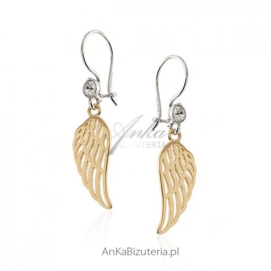 Kolczyki srebrne pozłacane z cyrkonią - Skrzydła Anioła