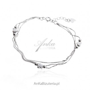 Bransoletka srebrna - serduszka . Biżuteria włoska