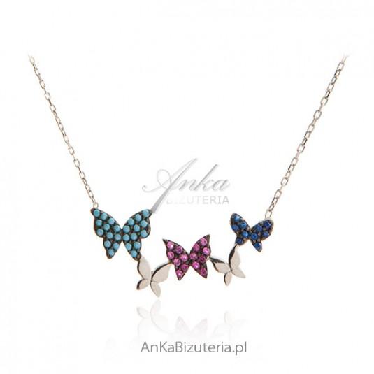 Modna biżuteria srebrna - naszyjnik motylki z kolorowymi cyrkoniamii
