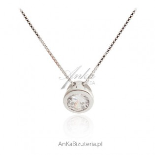 Naszyjnik srebrny z cyrkonią