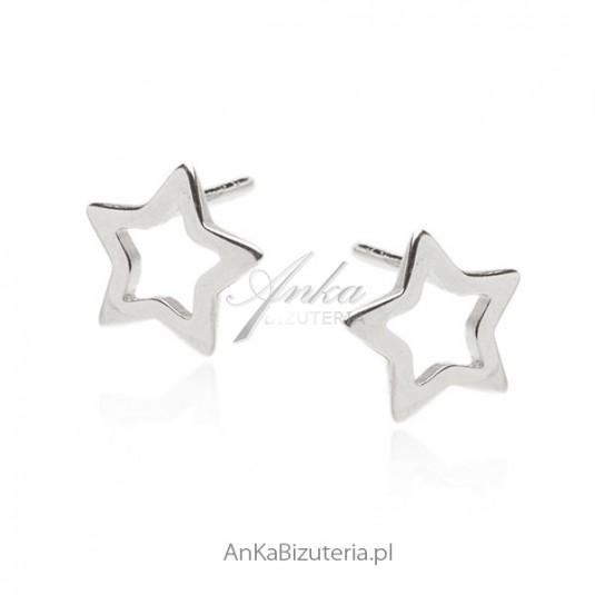 Kolczyki srebrne rodowane ażurowe gwiazdki