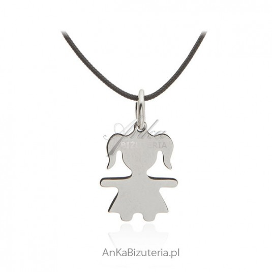 Naszyjnik srebrny choker na sznureczku - Dziewczymka - Biżuteria włoska