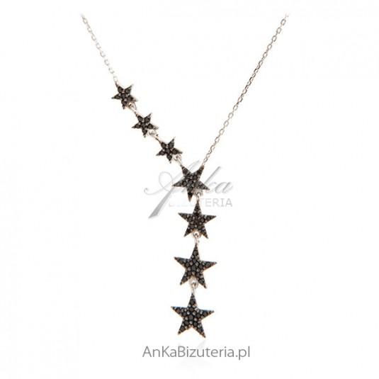 Naszyjnik srebrny z czarnymi gwiazdkami