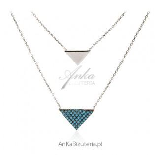Naszyjnik srebrny z niebieskimi turkusami