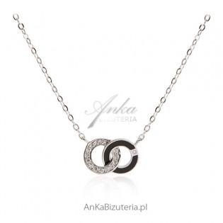 Naszyjnik srebrny dwa kółeczka - modna biżuteria celebrytek