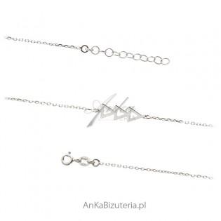 Biżuteria srebrna - bransoletka trójkąty