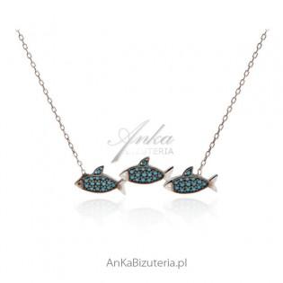 Naszyjnik srebrny z turkusami