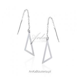 Kolczyki srebrne wiszące trójkąty