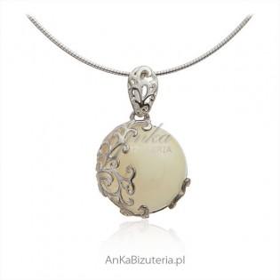Zawieszka srebrna z żółtym bursztynem - Bursztyn w ażurowej koronce