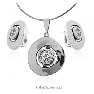Biżuteria srebrna komplet z cyrkonią