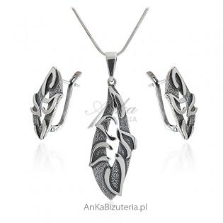 Biżuteria srebrna oksydowana - komplet