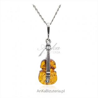 Zawieszka srebrna z bursztynem - gitara