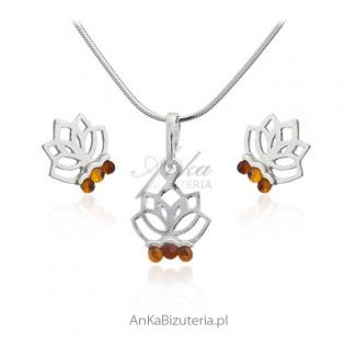 Komplet biżuteria srebrna z bursztynem - Kwiat lotosu