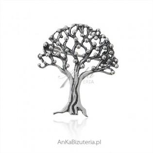 Broszka srebrna drzewko szczęścia