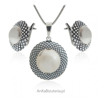 Komplet biżuteria srebrna z masą perłową
