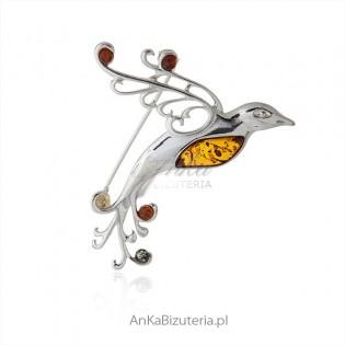 Broszka srebrna z bursztynem - Rajski Ptak