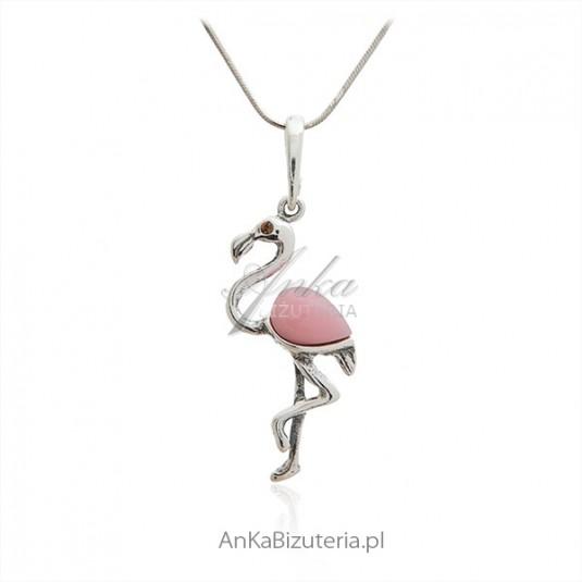 Zawieszka srebrna z różowym agatem - srebrny pelikan