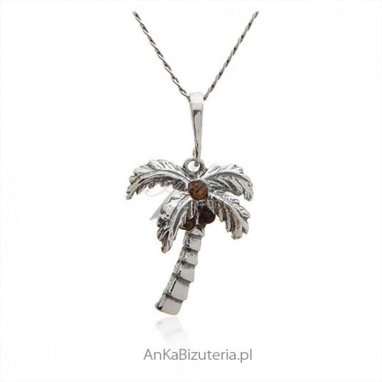 Biżuteria z bursztynem Srebrna zawieszka Palma