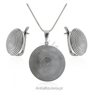 Komplet biżuteria srebrna oksydowana